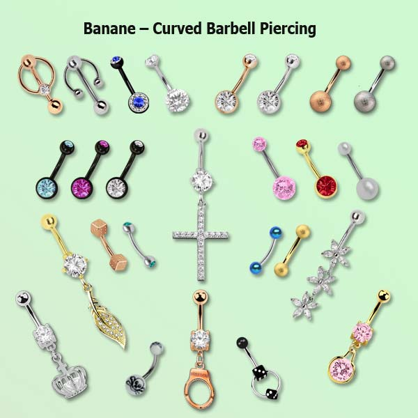 Die Banane, Bananabell oder Curved Barbell Piercing