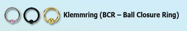 Piercing Klemmring, bcr