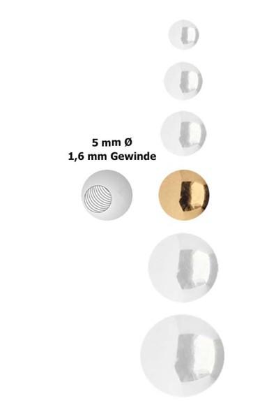 Piercing Verschluss Stahl Kugel, Rosè Gold 1,6 x 5 mm