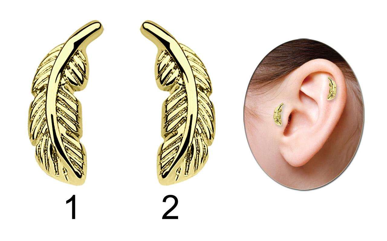 Ohr Piercing Schmuck Helix, Tragus, Feder Gold, in 1,2 x 6 mm