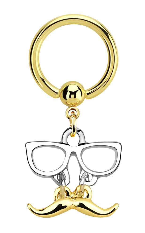 Intim Piercing Ring PVD Gold 1,6 mm mit Brille mit Bart