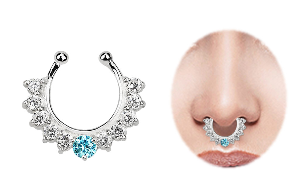 nasenpiercing fake ring septum silber mit 11 steinen. Black Bedroom Furniture Sets. Home Design Ideas