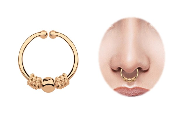 Bild von Nasenpiercing Fake Ring Septum Klemmring Rose Gold, 1,0 x 11 mm